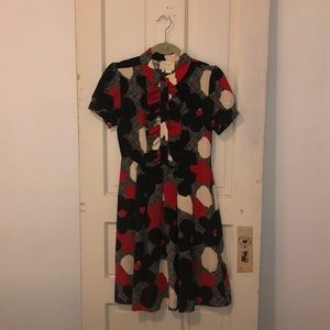 Silk Kate Spade Abstract Floral Vtg Style Dress
